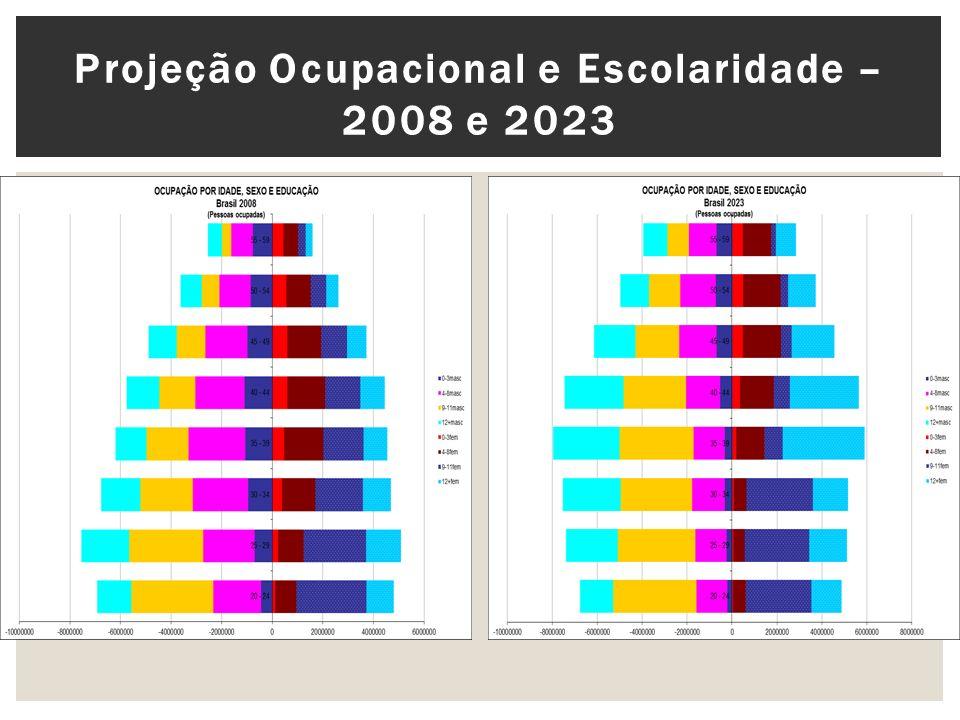 Projeção Ocupacional e Escolaridade – 2008 e 2023
