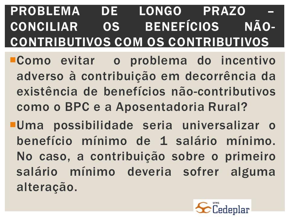 Como evitar o problema do incentivo adverso à contribuição em decorrência da existência de benefícios não-contributivos como o BPC e a Aposentadoria Rural.