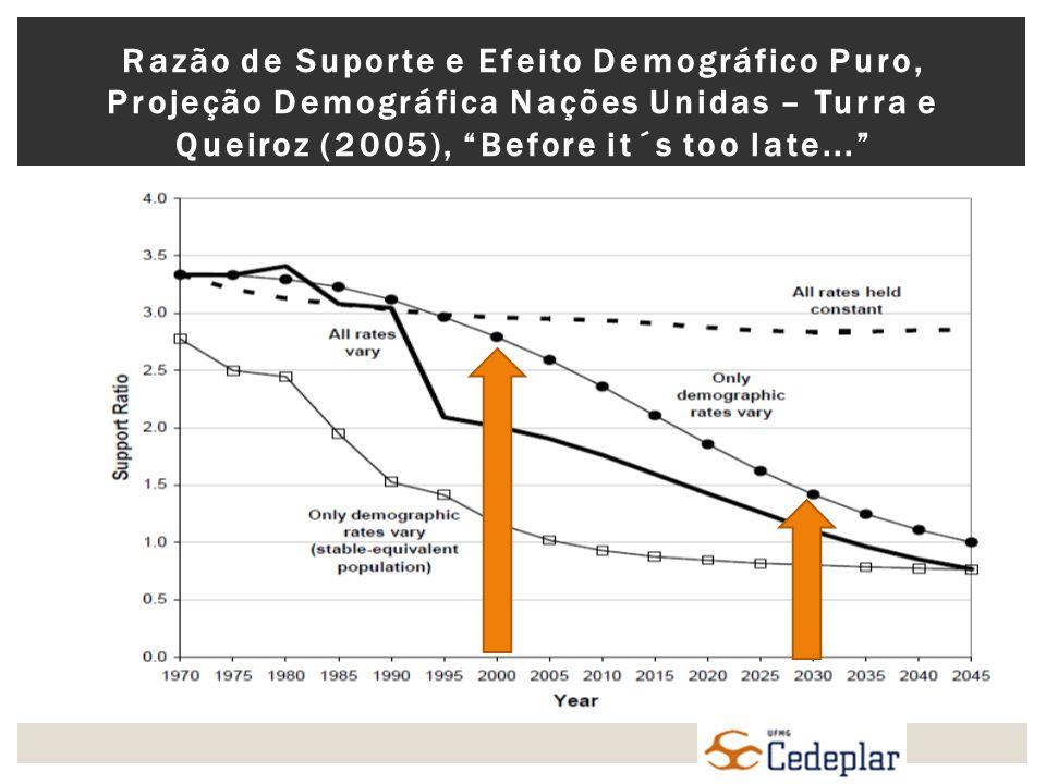 Razão de Suporte e Efeito Demográfico Puro, Projeção Demográfica Nações Unidas – Turra e Queiroz (2005), Before it´s too late...