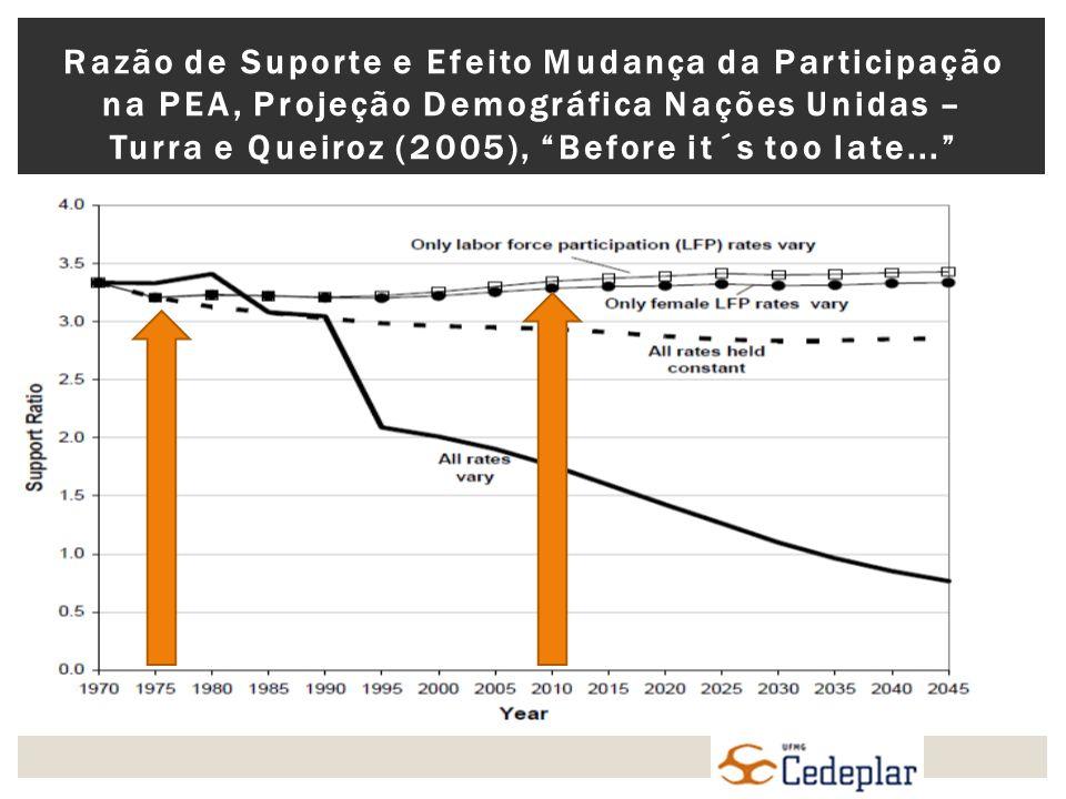 Razão de Suporte e Efeito Mudança da Participação na PEA, Projeção Demográfica Nações Unidas – Turra e Queiroz (2005), Before it´s too late...