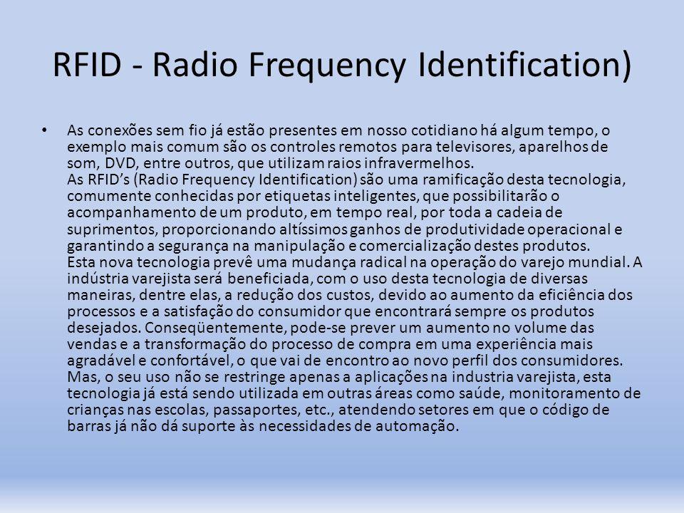 RFID - Radio Frequency Identification) As conexões sem fio já estão presentes em nosso cotidiano há algum tempo, o exemplo mais comum são os controles