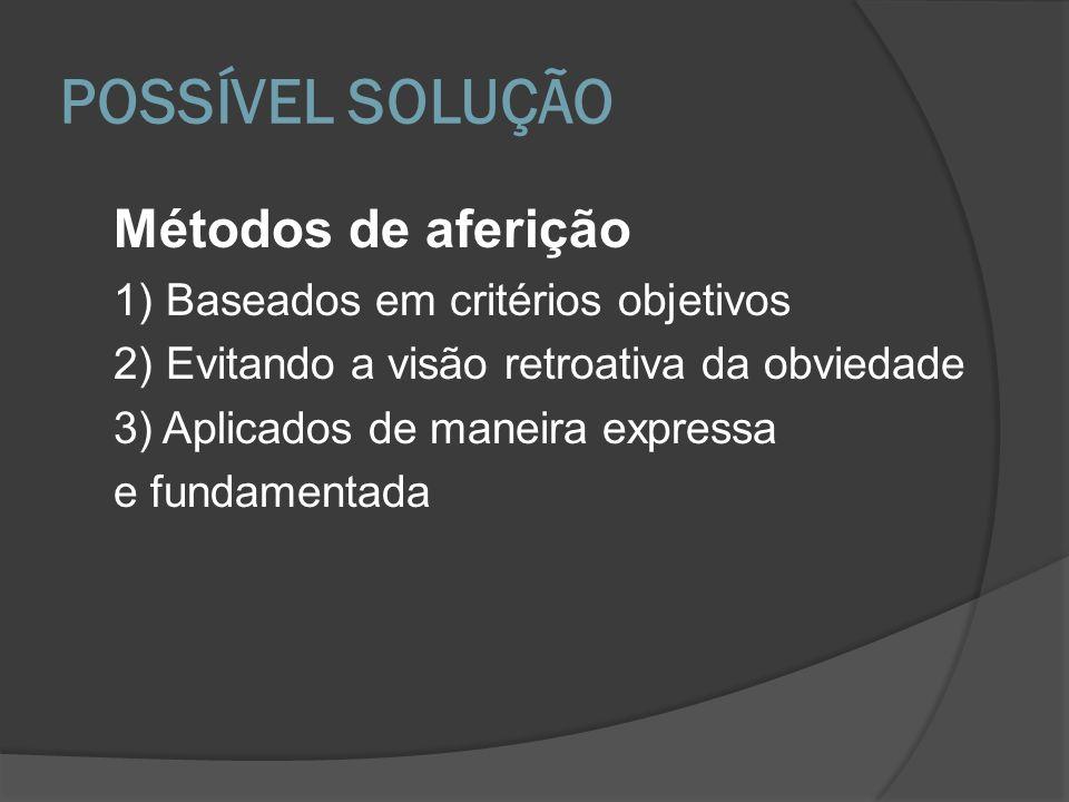 Métodos de aferição 1) Baseados em critérios objetivos 2) Evitando a visão retroativa da obviedade 3) Aplicados de maneira expressa e fundamentada POS