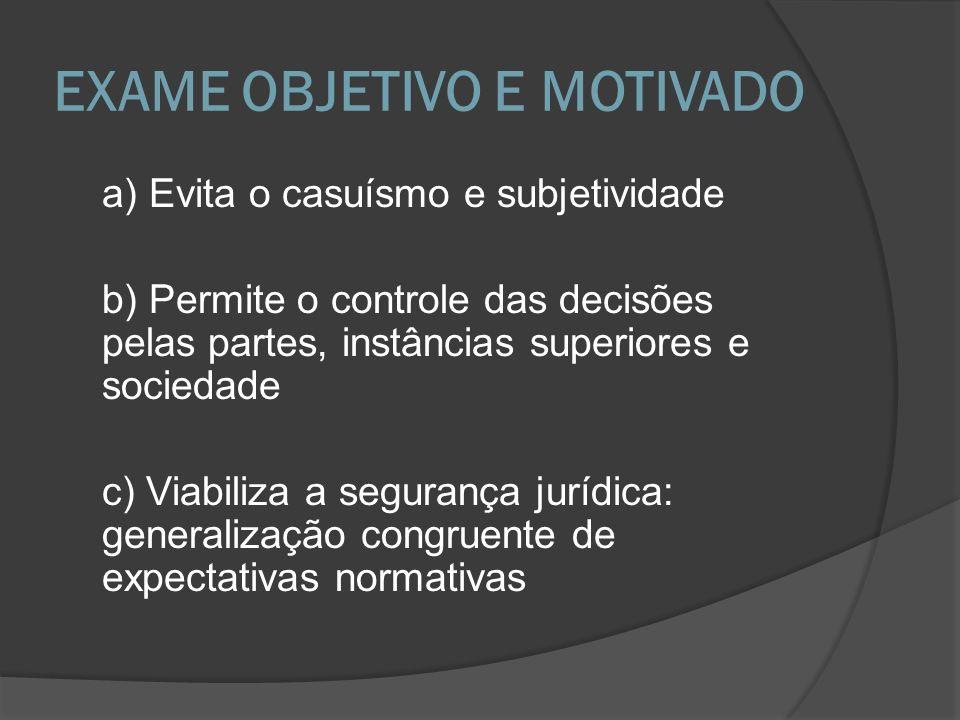 EXAME OBJETIVO E MOTIVADO a) Evita o casuísmo e subjetividade b) Permite o controle das decisões pelas partes, instâncias superiores e sociedade c) Vi