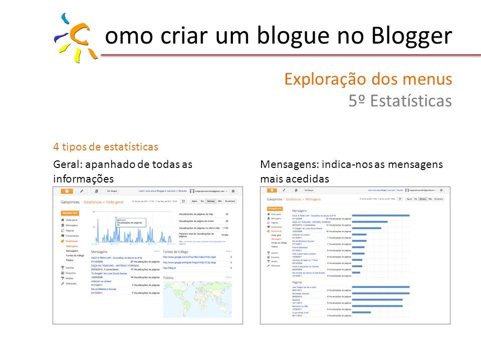 omo criar um blogue no Blogger Exploração dos menus 5º Estatísticas 4 tipos de estatísticas Geral: apanhado de todas as informações Mensagens: indica-nos as mensagens mais acedidas