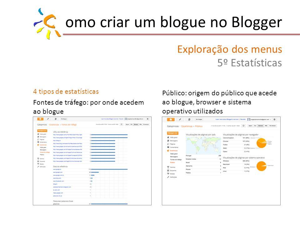 omo criar um blogue no Blogger Exploração dos menus 5º Estatísticas 4 tipos de estatísticas Fontes de tráfego: por onde acedem ao blogue Público: origem do público que acede ao blogue, browser e sistema operativo utilizados