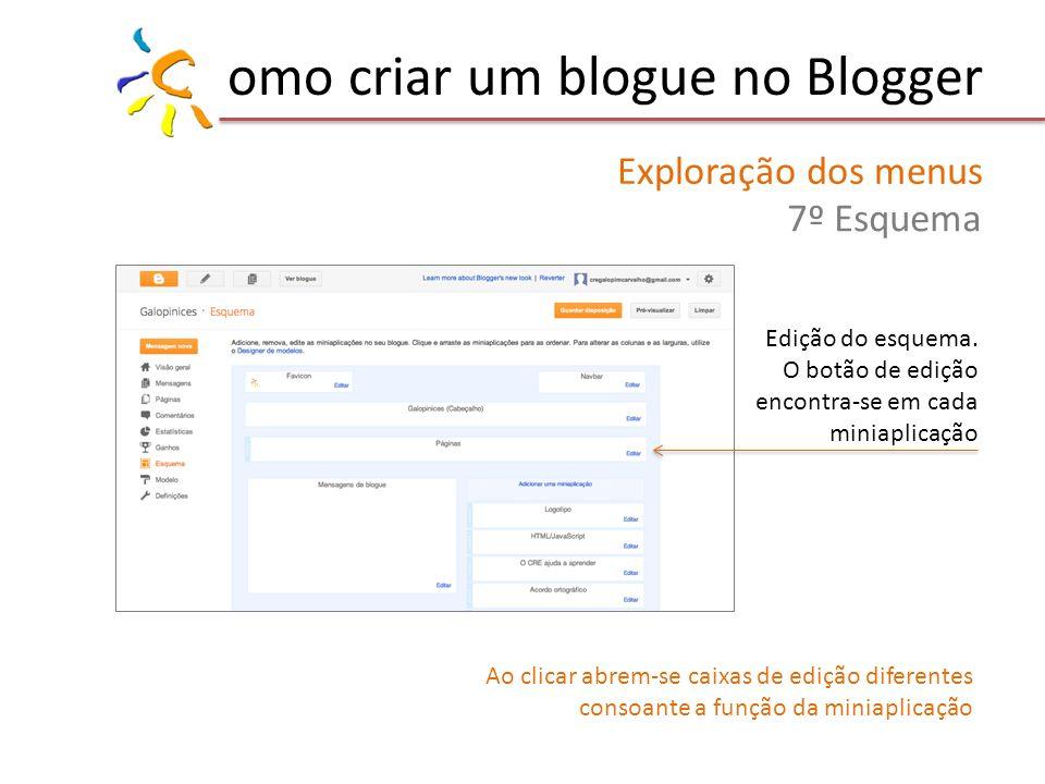 omo criar um blogue no Blogger Exploração dos menus 7º Esquema Edição do esquema. O botão de edição encontra-se em cada miniaplicação Ao clicar abrem-