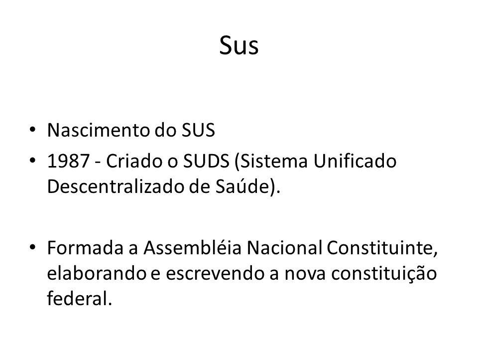 Sus Nascimento do SUS 1987 - Criado o SUDS (Sistema Unificado Descentralizado de Saúde). Formada a Assembléia Nacional Constituinte, elaborando e escr