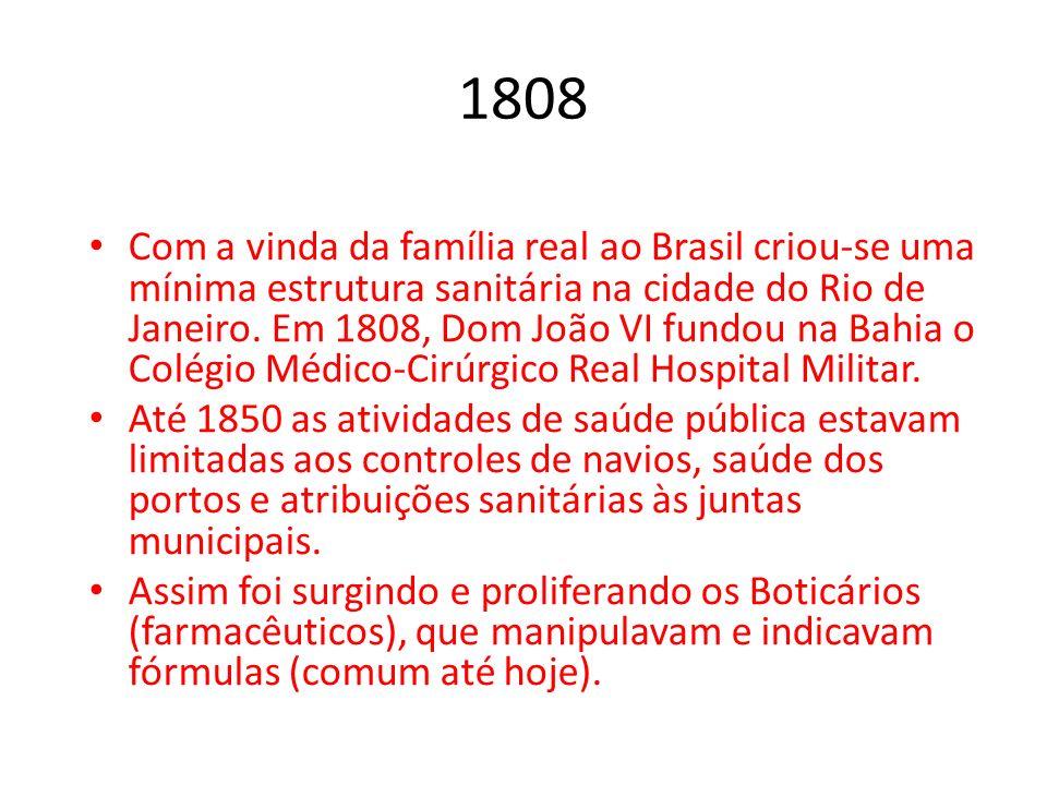 1808 Com a vinda da família real ao Brasil criou-se uma mínima estrutura sanitária na cidade do Rio de Janeiro. Em 1808, Dom João VI fundou na Bahia o