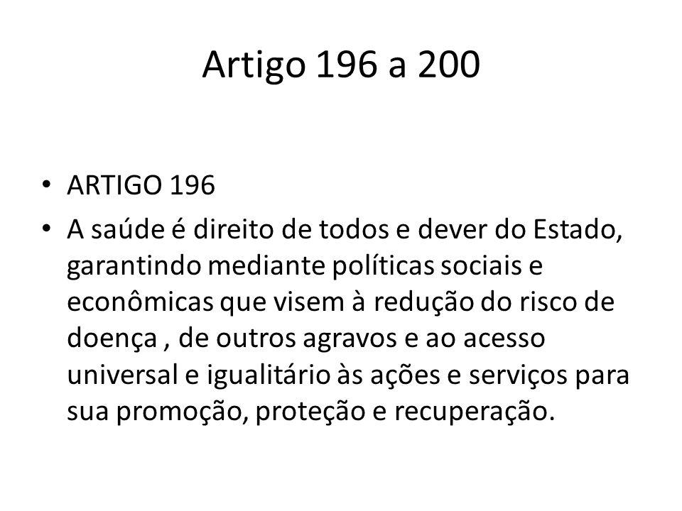 Artigo 196 a 200 ARTIGO 196 A saúde é direito de todos e dever do Estado, garantindo mediante políticas sociais e econômicas que visem à redução do ri