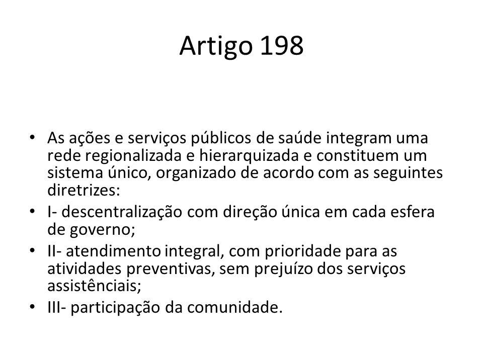 Artigo 198 As ações e serviços públicos de saúde integram uma rede regionalizada e hierarquizada e constituem um sistema único, organizado de acordo c