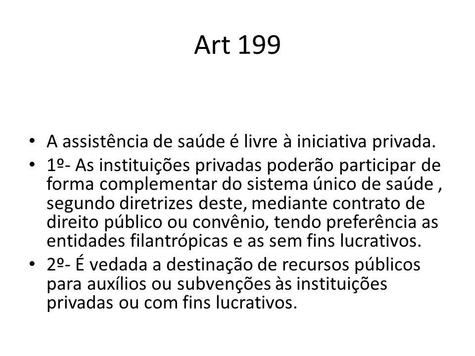 Art 199 A assistência de saúde é livre à iniciativa privada. 1º- As instituições privadas poderão participar de forma complementar do sistema único de