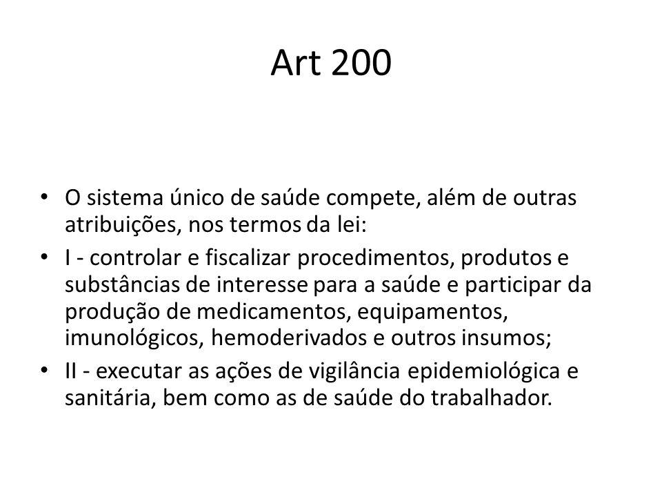 Art 200 O sistema único de saúde compete, além de outras atribuições, nos termos da lei: I - controlar e fiscalizar procedimentos, produtos e substânc