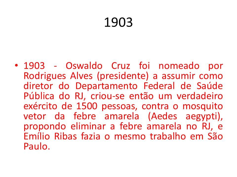 1903 1903 - Oswaldo Cruz foi nomeado por Rodrigues Alves (presidente) a assumir como diretor do Departamento Federal de Saúde Pública do RJ, criou-se
