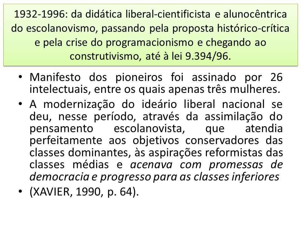 1932-1996: da didática liberal-cientificista e alunocêntrica do escolanovismo, passando pela proposta histórico-crítica e pela crise do programacionis