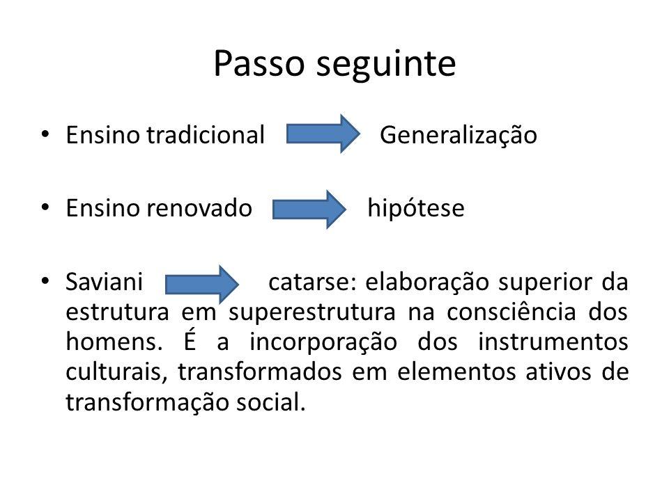 Passo seguinte Ensino tradicional Generalização Ensino renovado hipótese Saviani catarse: elaboração superior da estrutura em superestrutura na consci