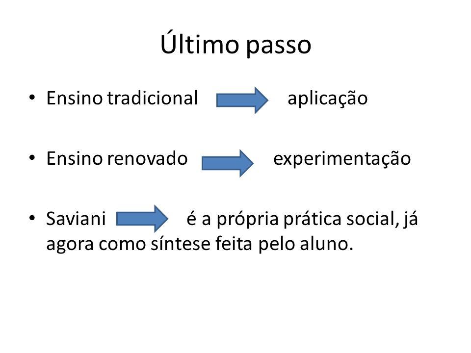Último passo Ensino tradicional aplicação Ensino renovado experimentação Saviani é a própria prática social, já agora como síntese feita pelo aluno.