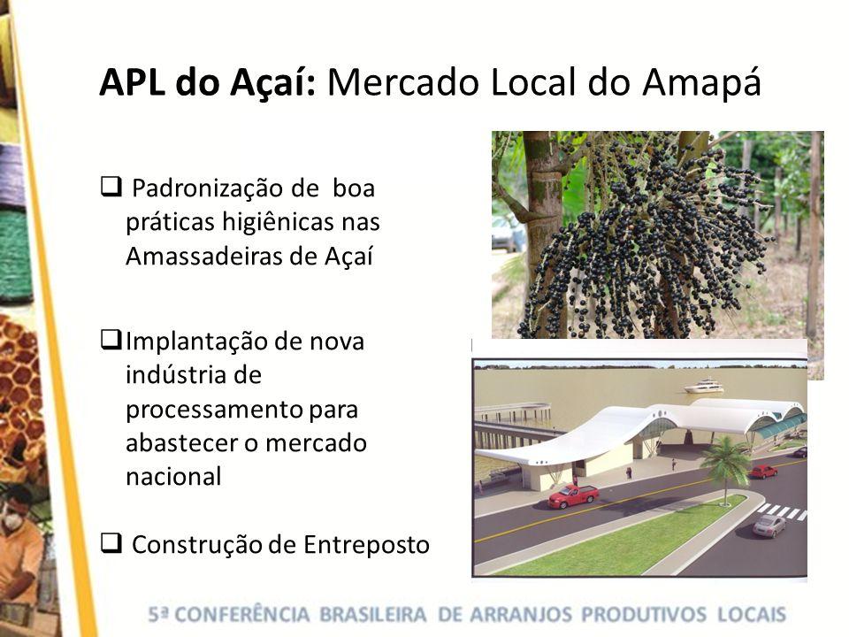 Padronização de boa práticas higiênicas nas Amassadeiras de Açaí Implantação de nova indústria de processamento para abastecer o mercado nacional Cons