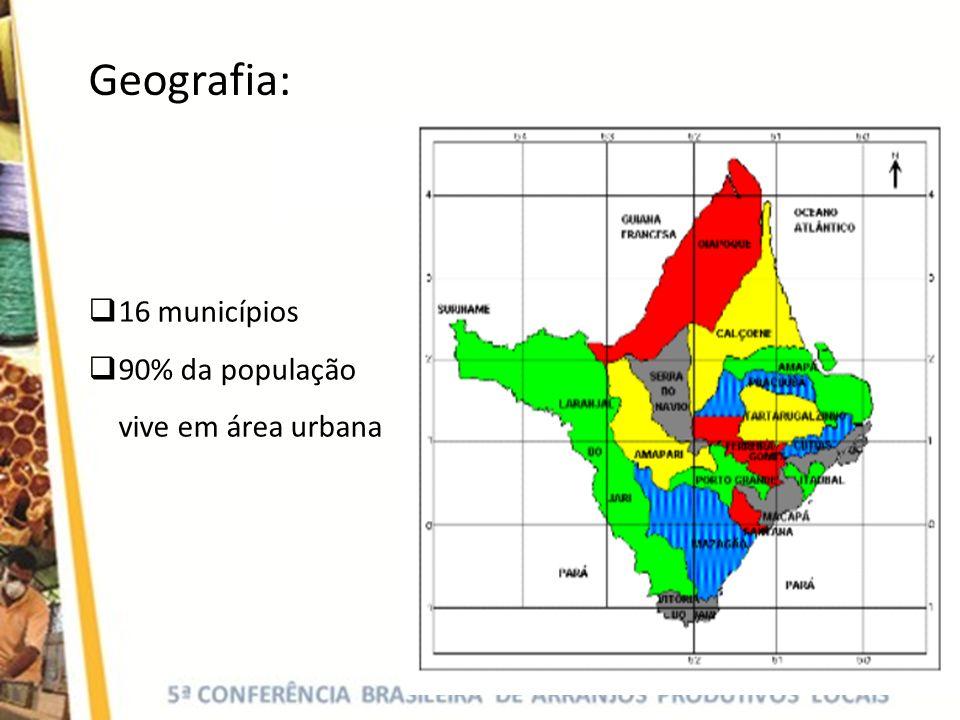 Geografia: 16 municípios 90% da população vive em área urbana