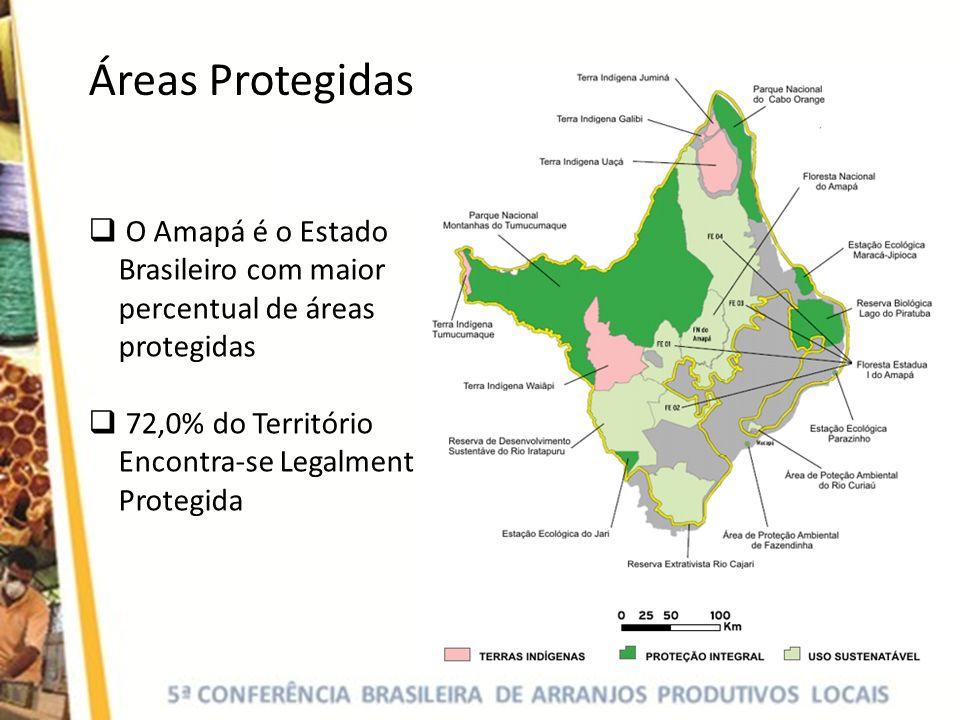 Áreas Protegidas O Amapá é o Estado Brasileiro com maior percentual de áreas protegidas 72,0% do Território Encontra-se Legalmente Protegida