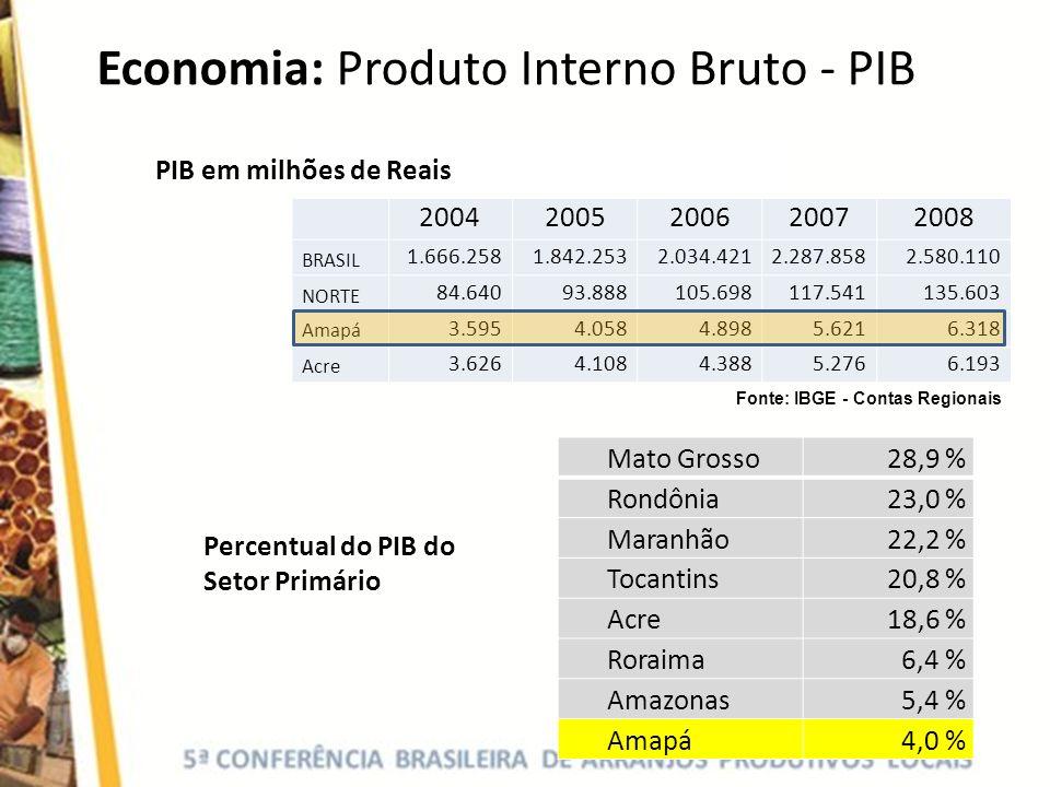 Economia: Produto Interno Bruto - PIB 20042005200620072008 BRASIL 1.666.2581.842.2532.034.4212.287.8582.580.110 NORTE 84.64093.888105.698117.541135.60