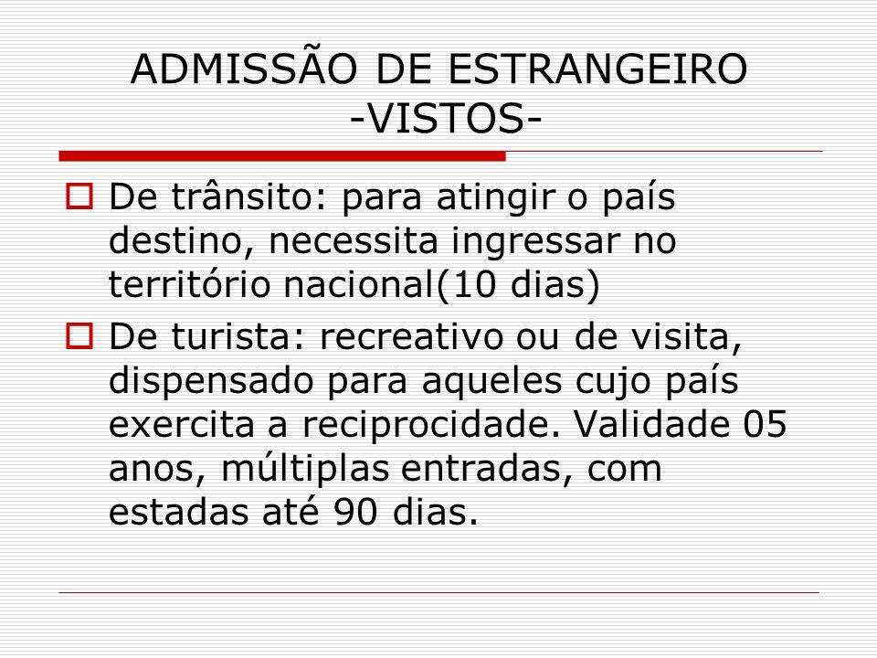 ADMISSÃO DE ESTRANGEIRO -VISTOS- De trânsito: para atingir o país destino, necessita ingressar no território nacional(10 dias) De turista: recreativo