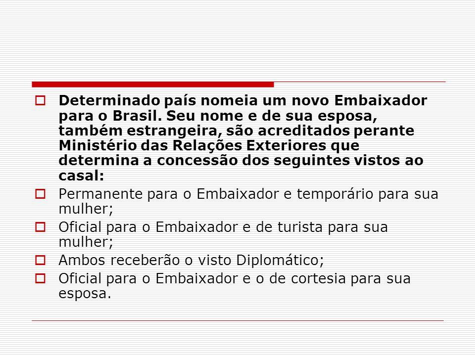 Determinado país nomeia um novo Embaixador para o Brasil. Seu nome e de sua esposa, também estrangeira, são acreditados perante Ministério das Relaçõe