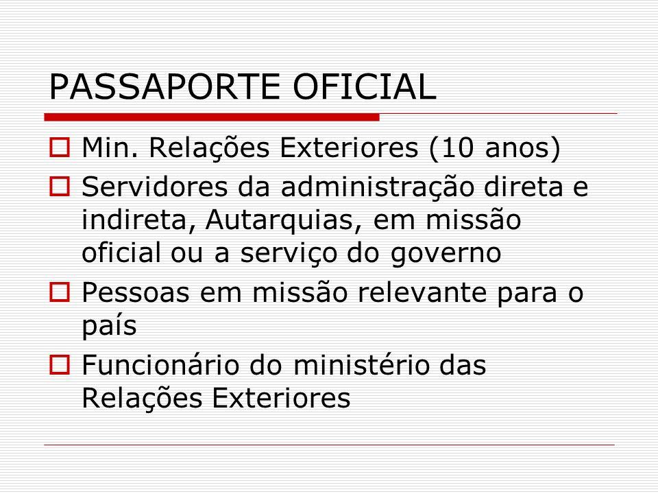 PASSAPORTE OFICIAL Min. Relações Exteriores (10 anos) Servidores da administração direta e indireta, Autarquias, em missão oficial ou a serviço do gov