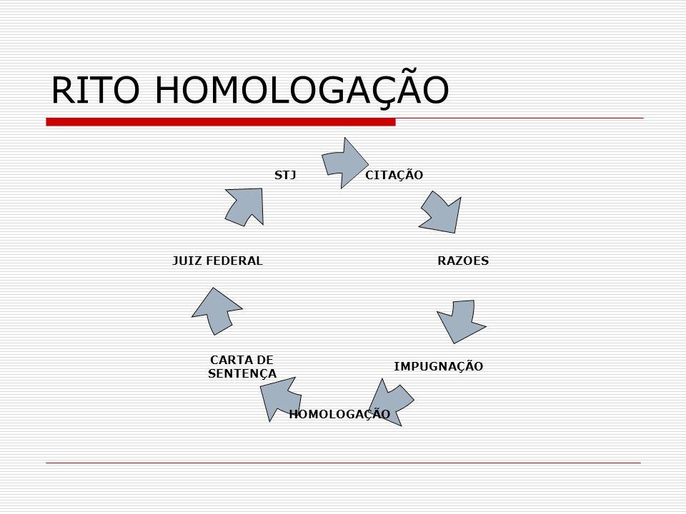 RITO HOMOLOGAÇÃO CITAÇÃO RAZOES IMPUGNAÇÃO HOMOLOGAÇÃO CARTA DE SENTENÇA JUIZ FEDERAL STJ