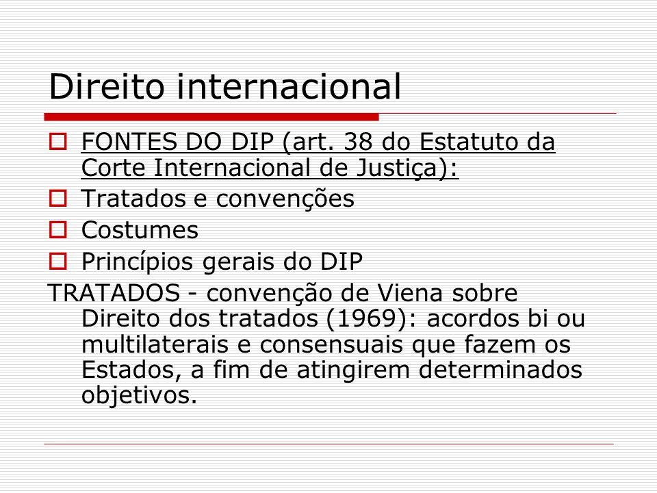 Direito internacional FONTES DO DIP (art. 38 do Estatuto da Corte Internacional de Justiça): Tratados e convenções Costumes Princípios gerais do DIP T