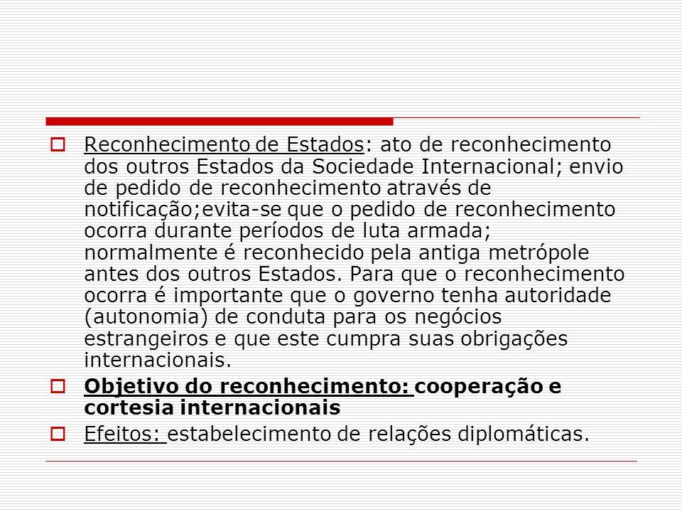 Reconhecimento de Estados: ato de reconhecimento dos outros Estados da Sociedade Internacional; envio de pedido de reconhecimento através de notificaç