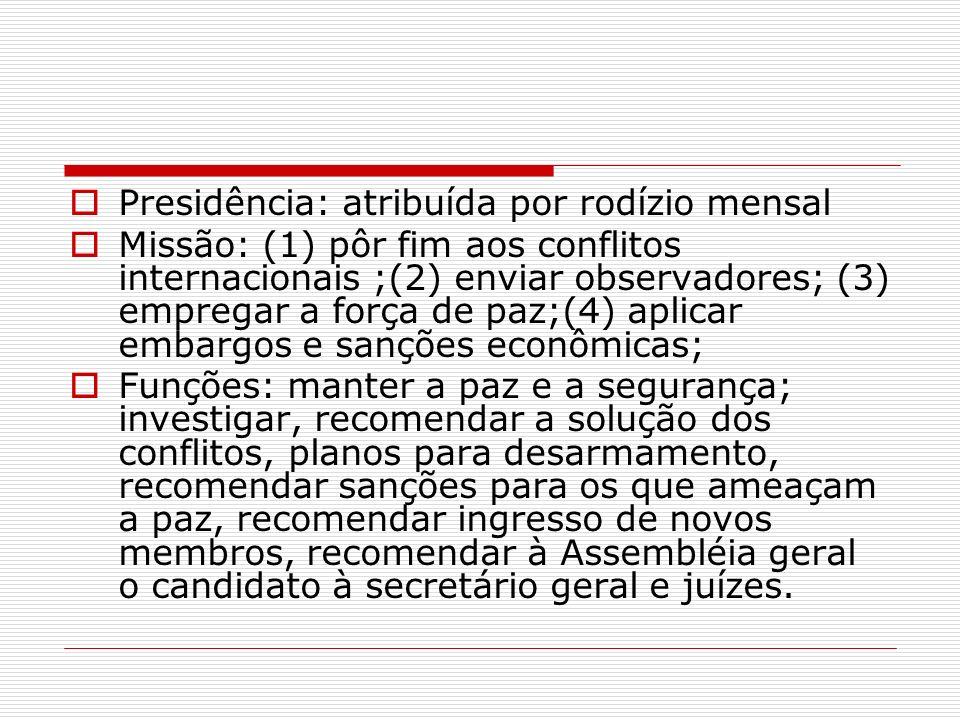 Presidência: atribuída por rodízio mensal Missão: (1) pôr fim aos conflitos internacionais ;(2) enviar observadores; (3) empregar a força de paz;(4) a