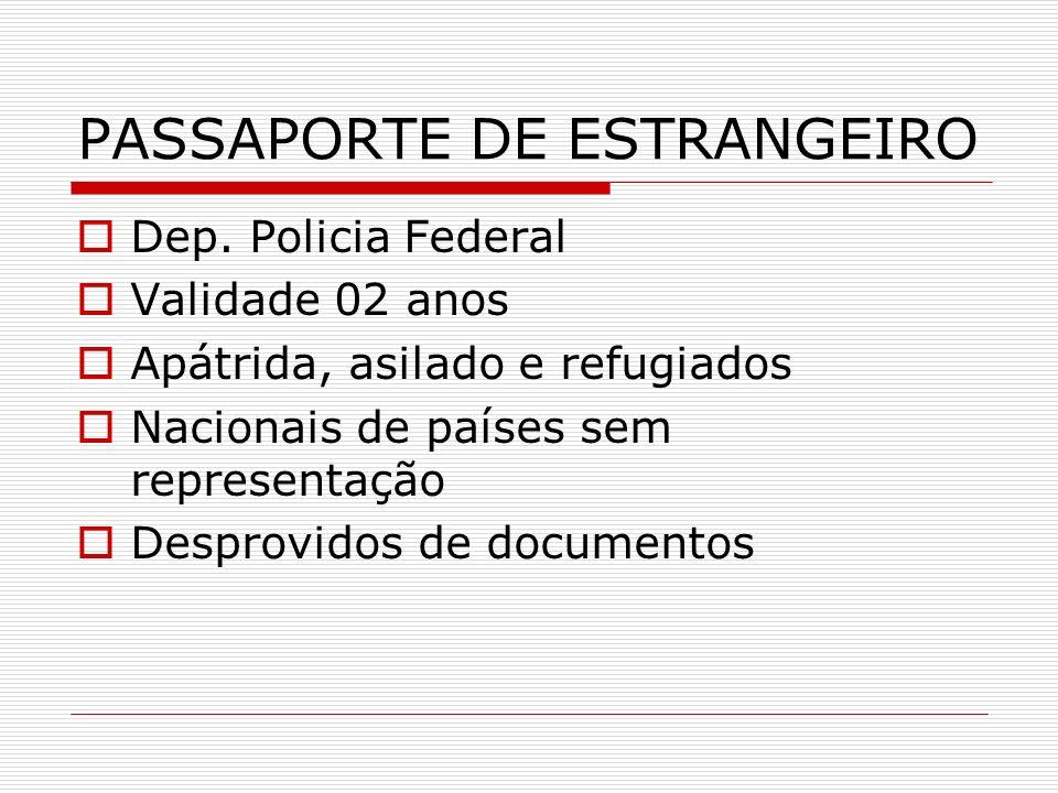 PASSAPORTE DE ESTRANGEIRO Dep. Policia Federal Validade 02 anos Apátrida, asilado e refugiados Nacionais de países sem representação Desprovidos de do