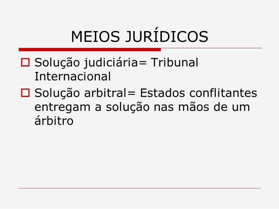 MEIOS JURÍDICOS Solução judiciária= Tribunal Internacional Solução arbitral= Estados conflitantes entregam a solução nas mãos de um árbitro