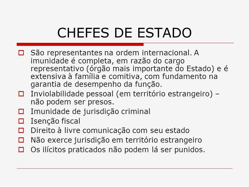 CHEFES DE ESTADO São representantes na ordem internacional. A imunidade é completa, em razão do cargo representativo (órgão mais importante do Estado)