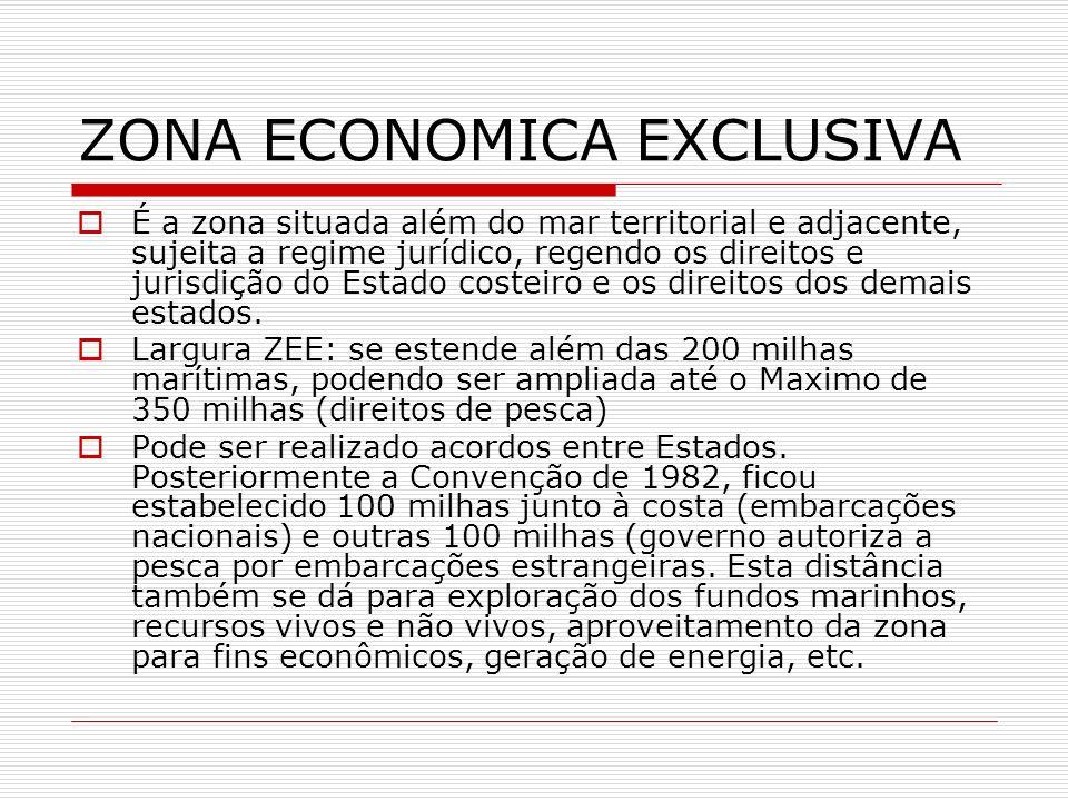 ZONA ECONOMICA EXCLUSIVA É a zona situada além do mar territorial e adjacente, sujeita a regime jurídico, regendo os direitos e jurisdição do Estado c