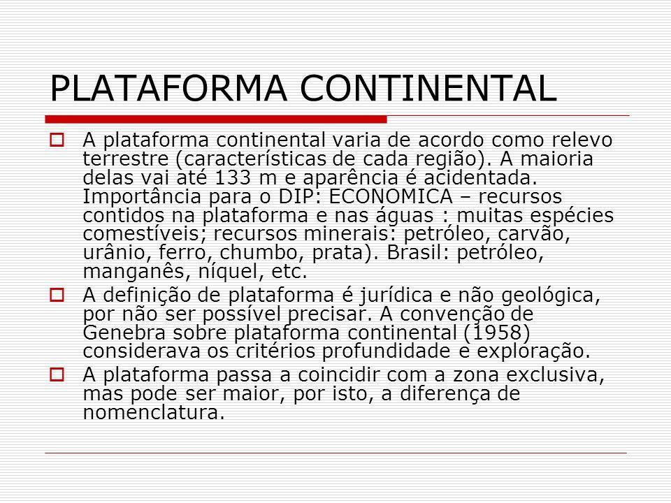 PLATAFORMA CONTINENTAL A plataforma continental varia de acordo como relevo terrestre (características de cada região). A maioria delas vai até 133 m