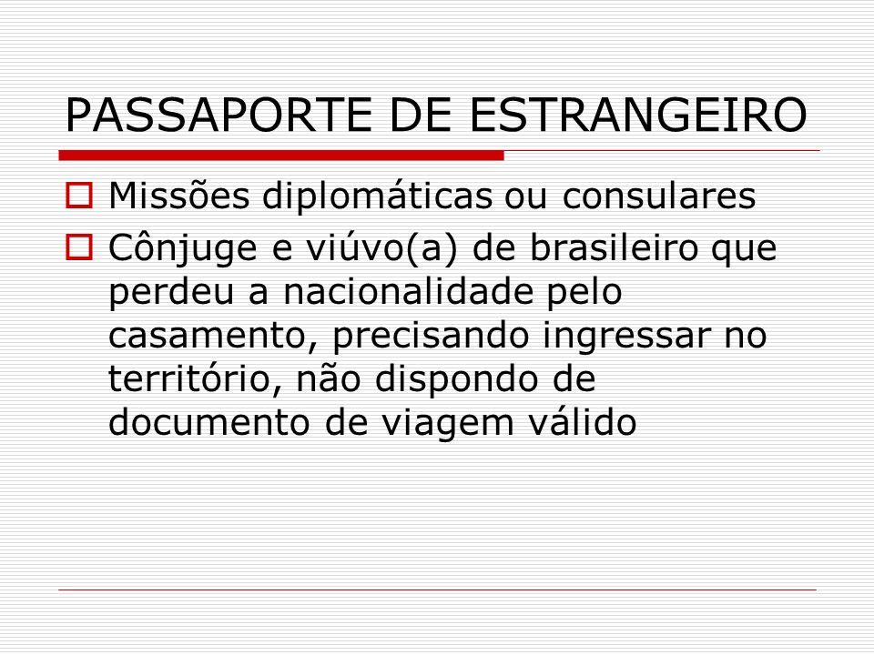PASSAPORTE DE ESTRANGEIRO Missões diplomáticas ou consulares Cônjuge e viúvo(a) de brasileiro que perdeu a nacionalidade pelo casamento, precisando in