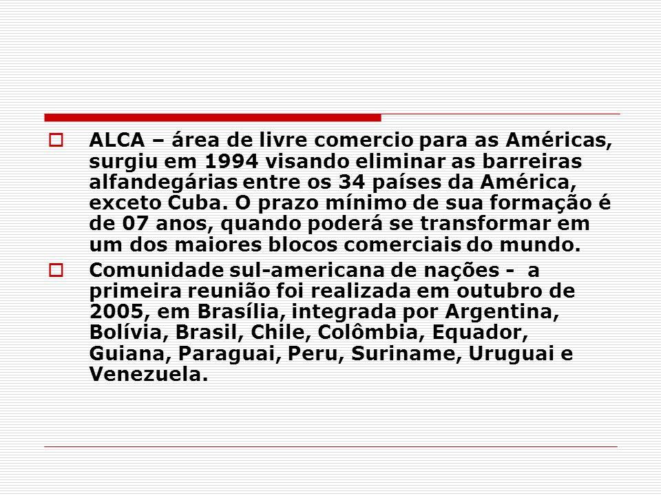 ALCA – área de livre comercio para as Américas, surgiu em 1994 visando eliminar as barreiras alfandegárias entre os 34 países da América, exceto Cuba.