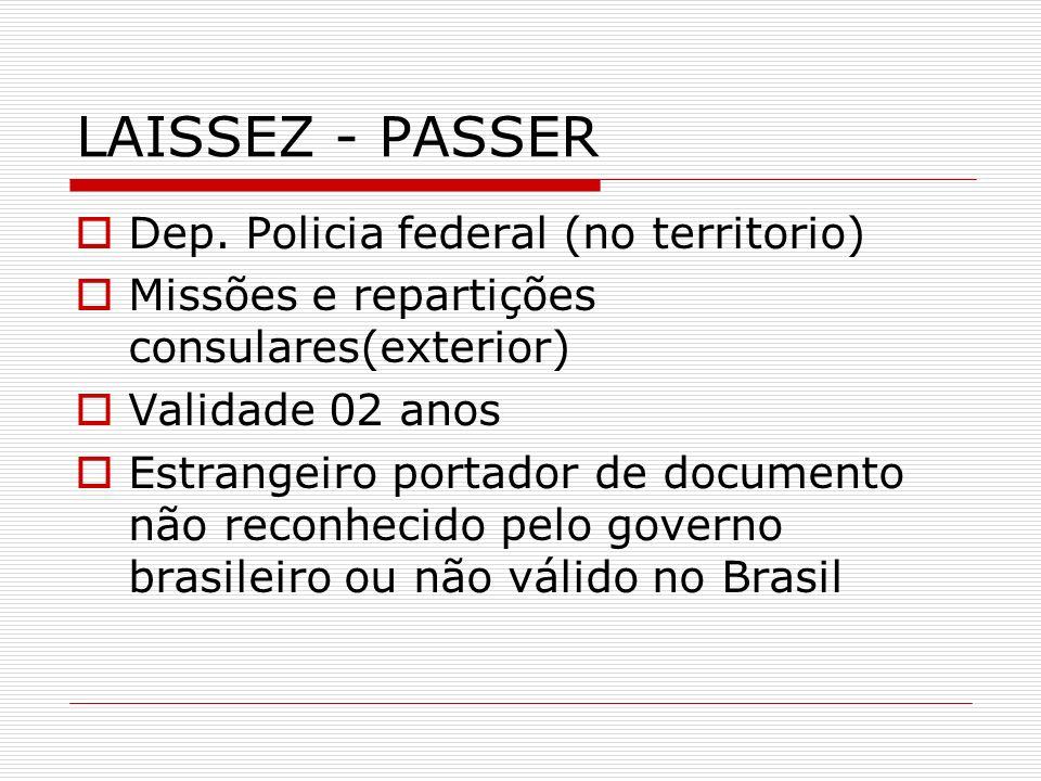 LAISSEZ - PASSER Dep. Policia federal (no territorio) Missões e repartições consulares(exterior) Validade 02 anos Estrangeiro portador de documento nã