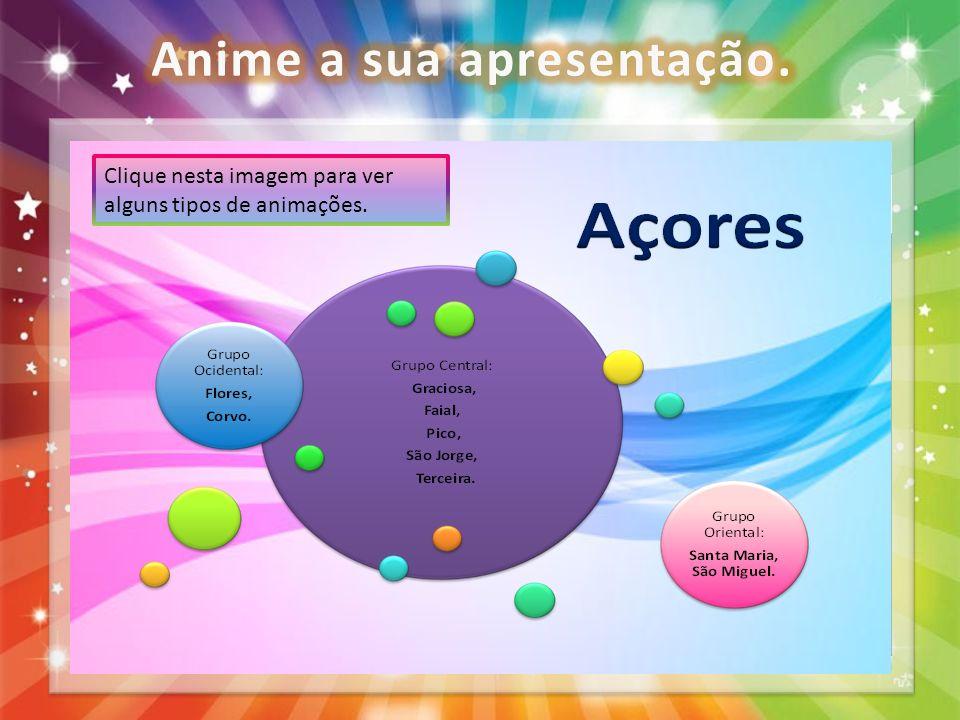 Escolha a animação que pretende de entrada, saída ou de ênfase. Clique nesta imagem para ver alguns tipos de animações.