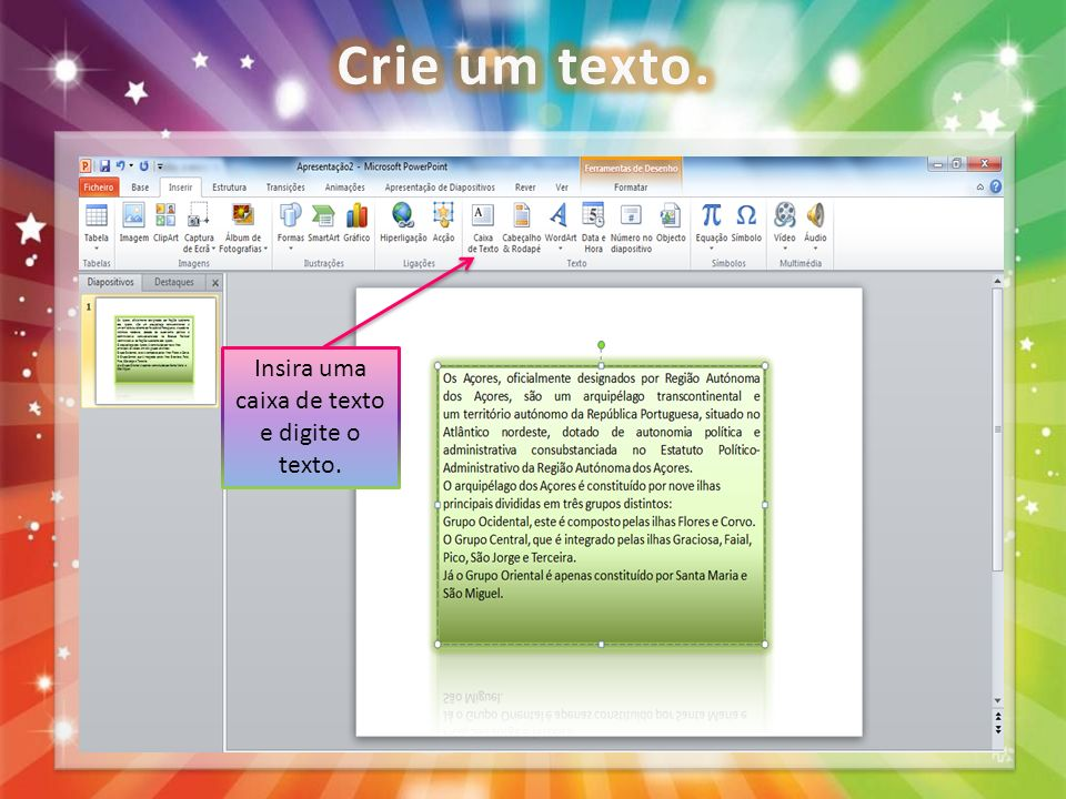 Insira uma caixa de texto e digite o texto.