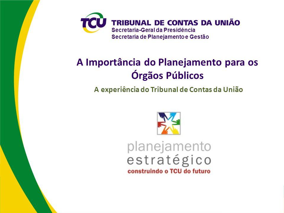 Secretaria-Geral da Presidência Secretaria de Planejamento e Gestão A Importância do Planejamento para os Órgãos Públicos A experiência do Tribunal de