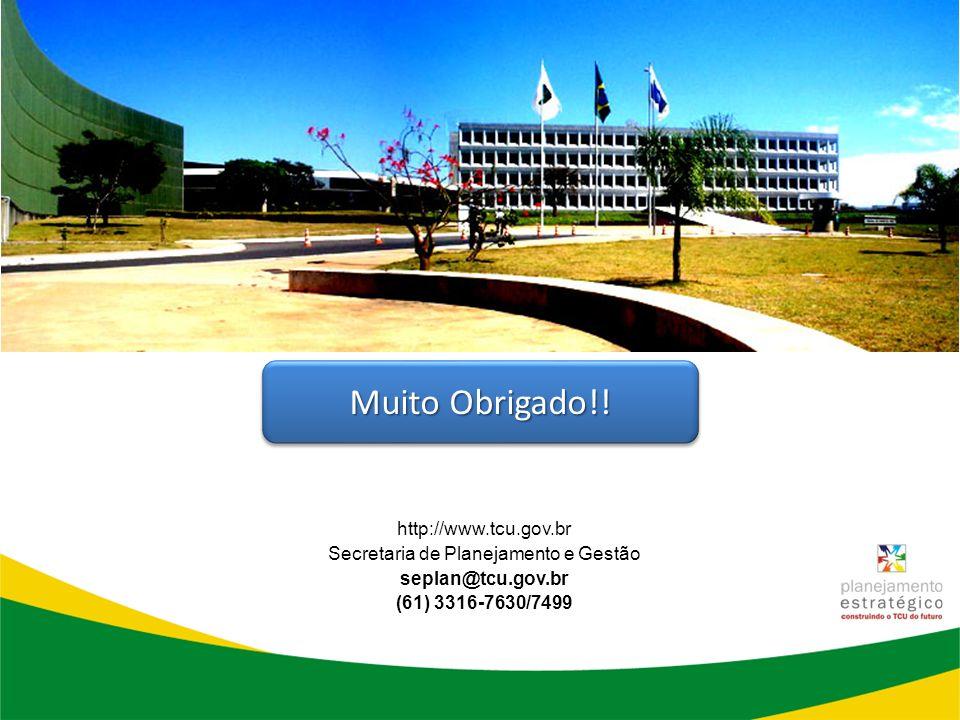 http://www.tcu.gov.br Secretaria de Planejamento e Gestão seplan@tcu.gov.br (61) 3316-7630/7499 Muito Obrigado!!