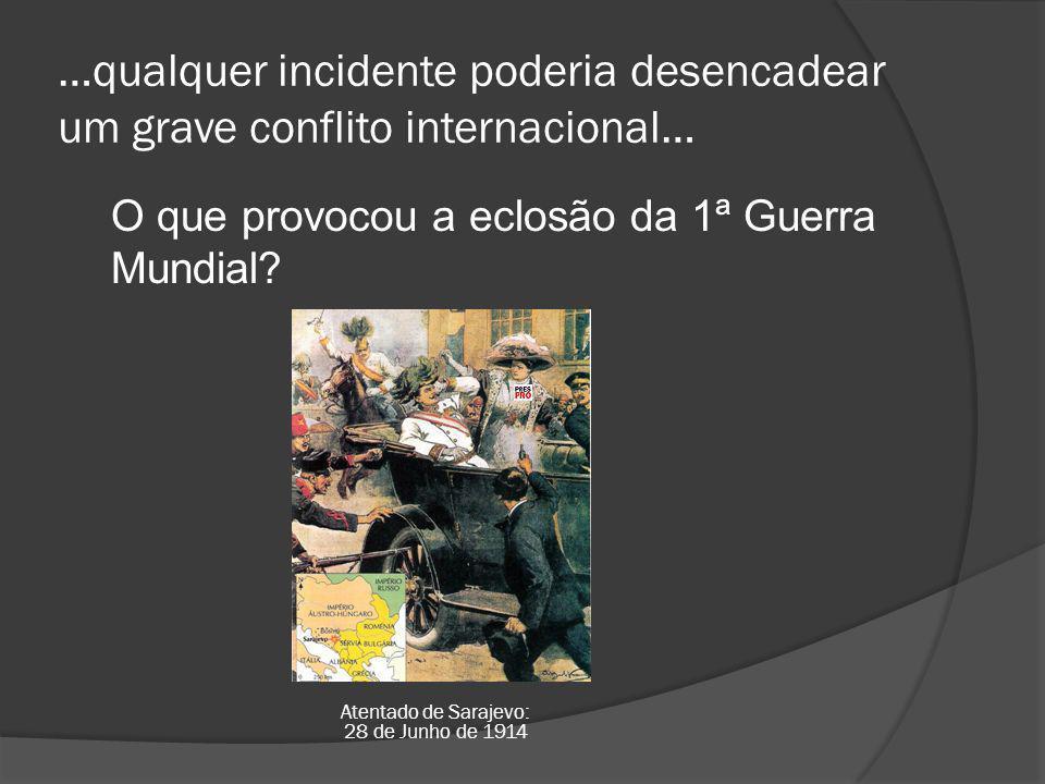 …qualquer incidente poderia desencadear um grave conflito internacional… O que provocou a eclosão da 1ª Guerra Mundial.