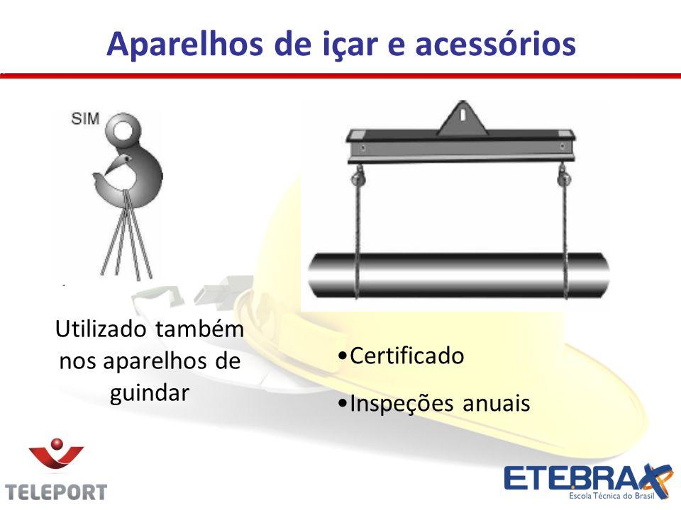 Aparelhos de içar e acessórios Utilizado também nos aparelhos de guindar Certificado Inspeções anuais