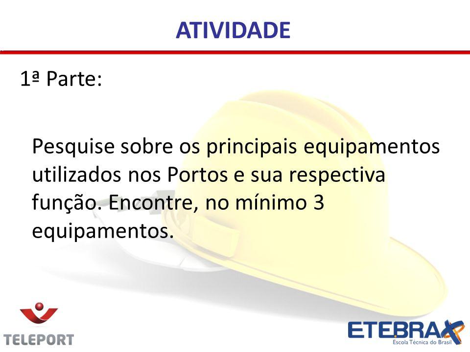 ATIVIDADE 1ª Parte: Pesquise sobre os principais equipamentos utilizados nos Portos e sua respectiva função.