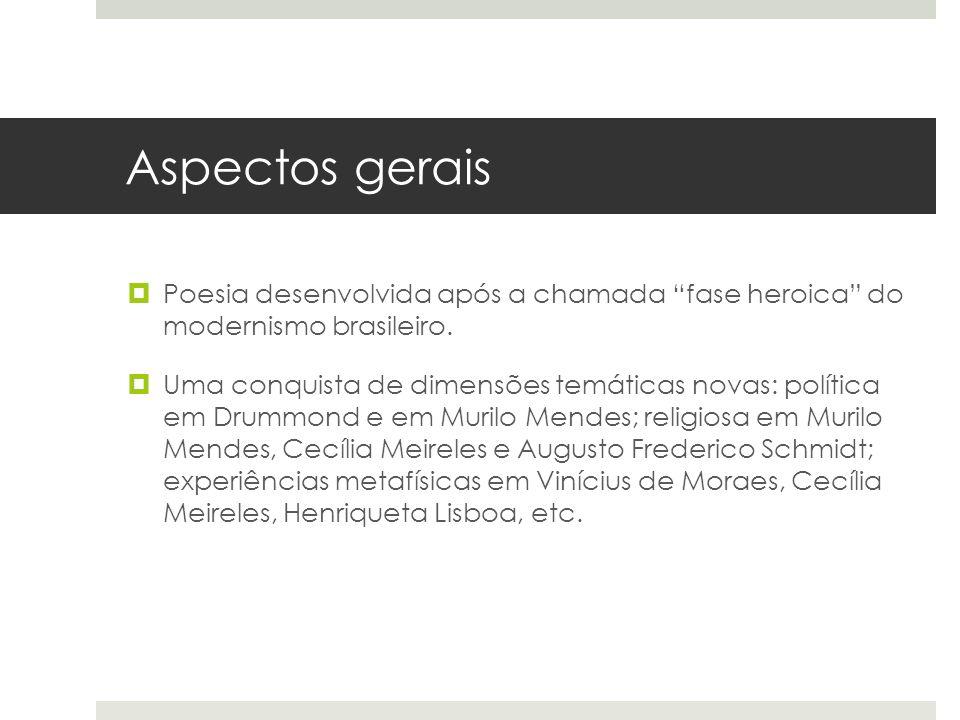 Aspectos gerais Poesia desenvolvida após a chamada fase heroica do modernismo brasileiro. Uma conquista de dimensões temáticas novas: política em Drum