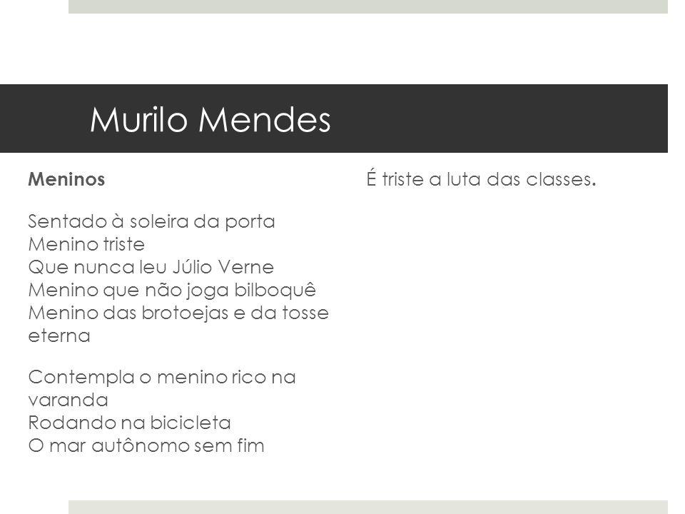 Murilo Mendes Meninos Sentado à soleira da porta Menino triste Que nunca leu Júlio Verne Menino que não joga bilboquê Menino das brotoejas e da tosse