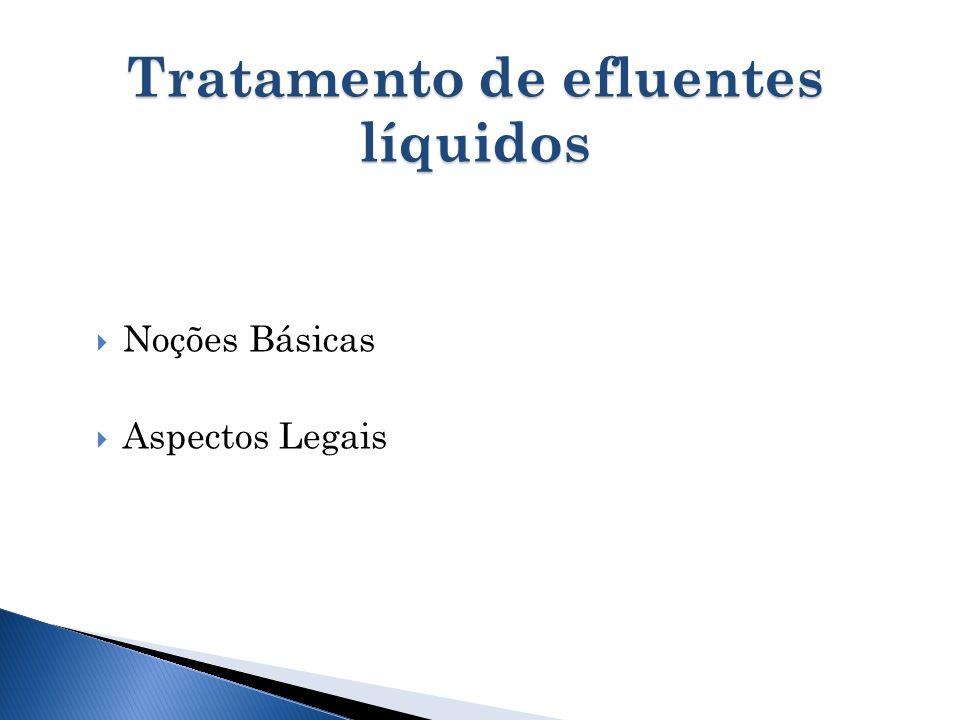 Tratamento de efluentes líquidos Noções Básicas Aspectos Legais