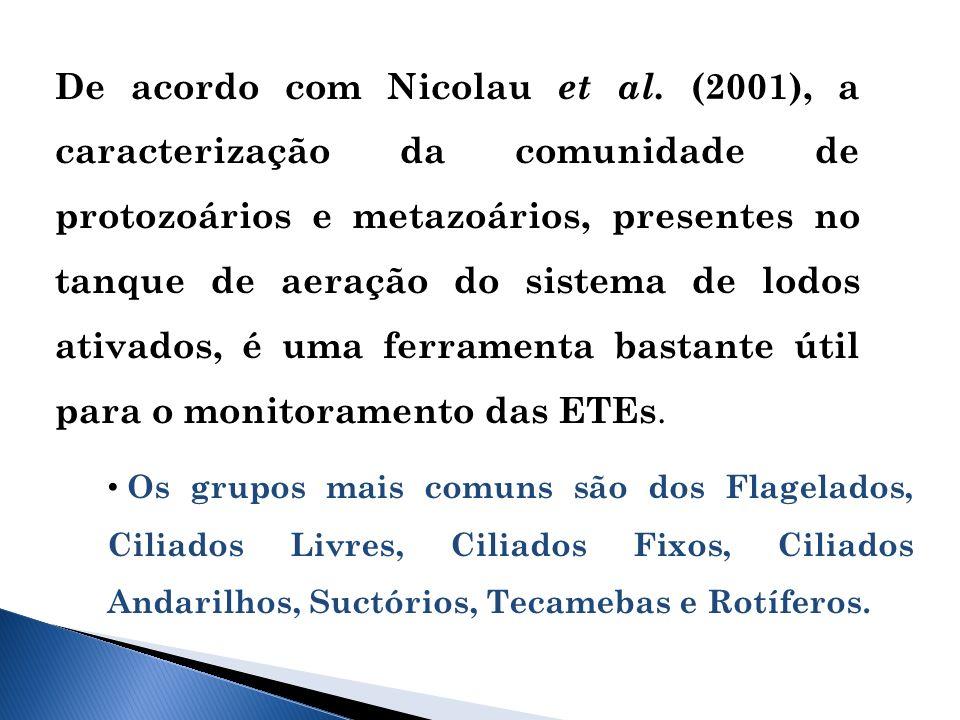 De acordo com Nicolau et al. (2001), a caracterização da comunidade de protozoários e metazoários, presentes no tanque de aeração do sistema de lodos